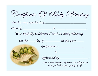 Certificate Of Baby Blessing