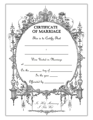 Free Printable Certificate of Marriage Steampunk Theme