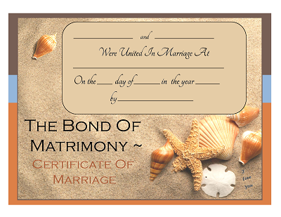 beach theme marriage certificate