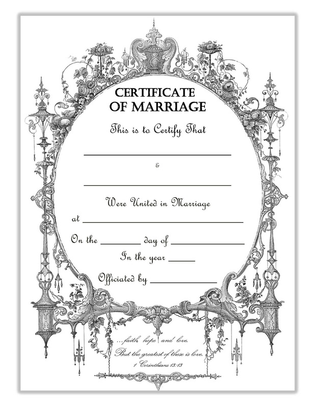 It's just a picture of Printable Marriage Certificate within fancy