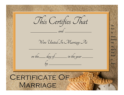 beach themed keepsake marriage certificate