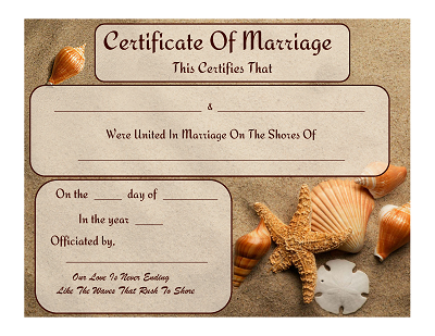 beach themed marriage certificate