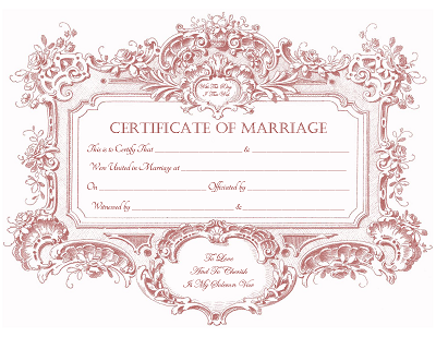 Baroque Frame Marriage Certificate
