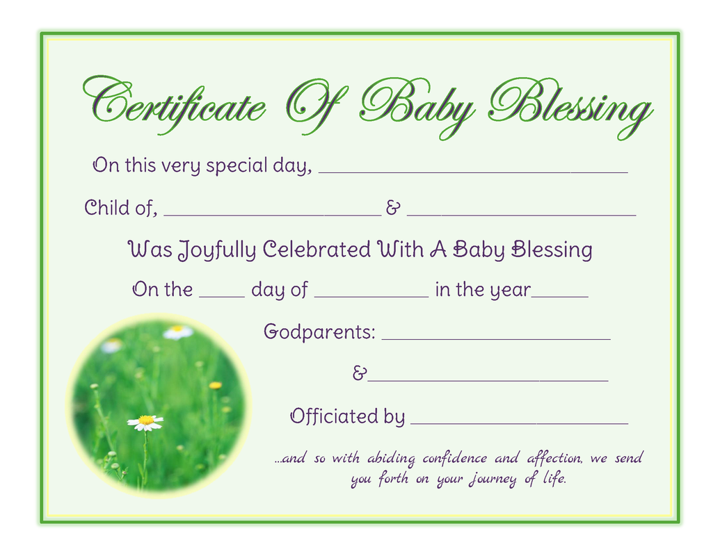 baby blessing certificate
