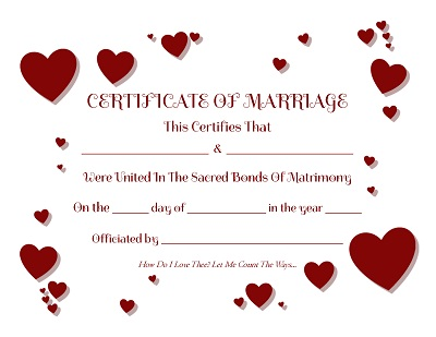 It is an image of Printable Marriage Certificate throughout downloadable